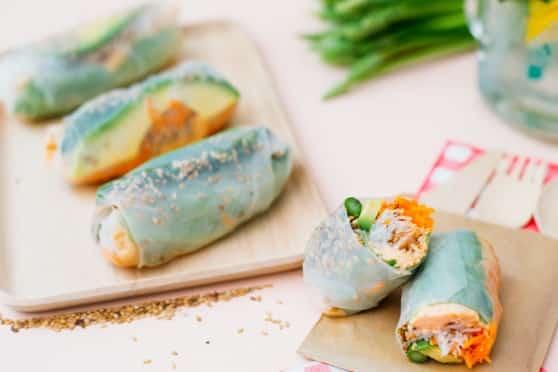 rouleaux de printemps fromagères saumon